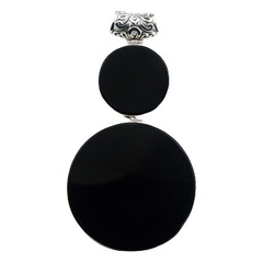 Two-piece modern round black agate gemstones sterling silver pendant