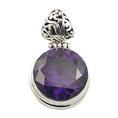 Handmade antiqued sterling silver pendant with violet round faceted qubic zirconia gemstone