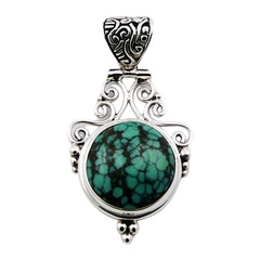 Romantic turquoise black green waxed cabochon soldered sterling silver pendant