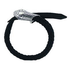 Black leather bracelet with 925 silver snake head