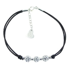 Leather bracelet with three silvery Czech crystal balls