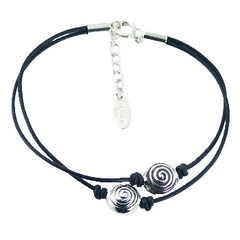 Double leather bracelet with silver beads and spiral