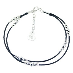 Double leather bracelet with silver beads in 5 colors