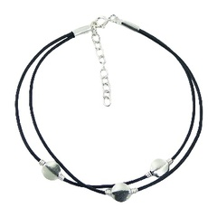 Double leather bracelet with 3 silver discs