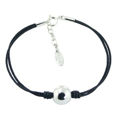 Leather bracelet with big polished 925 silver sphere