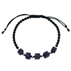 Macrame bracelet with amethyst and silver beads