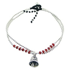 Double macrame bracelet with silver beads and bell charm