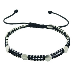 Double macrame bracelet with silver discs & beads