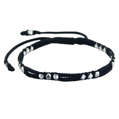 Double macrame bracelet with cuboid silver beads