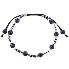 Macrame bracelet with amethyst & plenty of silver beads