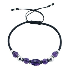 Macrame bracelet with amethyst, glass and silver beads