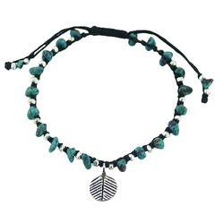 Macrame bracelet with silver and turquoise beads and silver leaf charm