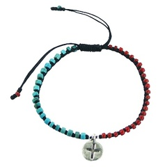 Two color macrame bracelet with turquoise and glass beads and silver disc charm