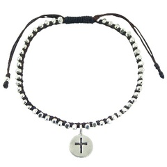 Macrame bracelet with silver beads and silver charm with cross