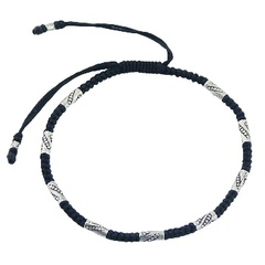 Macrame bracelet with silver ornate tube beads