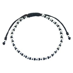 Macrame bracelet with sterling sliver round beads unisex design