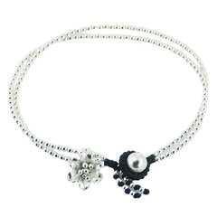 Double macrame bracelet with silver beads & silver flower