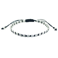 Macrame bracelet with long sterling silver beads