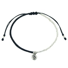 Macrame bracelet with silver beads and tibetan spiral silver charm