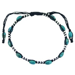 Macrame bracelet with twelve turquoise oval gems and silver beads