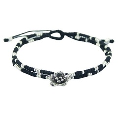 Double macrame bracelet with silver beads & silver flower charm