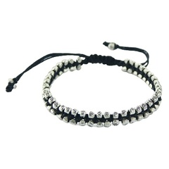 Macrame bracelet double silver beads with flower pattern
