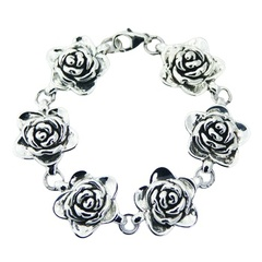 plain-silver-bracelets/interlinked-sterling-silver-rose