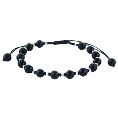 Shamballa bracelet with black agate gemstones and silver beads