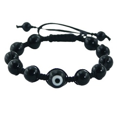 Black agate gemstones and black evil eye shamballa bracelet