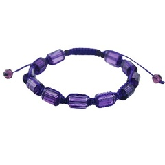 Shamballa bracelet with purple cylinder glass crystals
