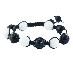Shambala bracelet with black and white agate gemstones