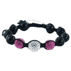 Shamballa bracelet black agate gemstones and shiny Czech crystal balls