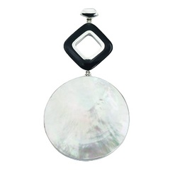 Two-piece mixed shape mother or pearl and black agate contrasting sterling silver pendant