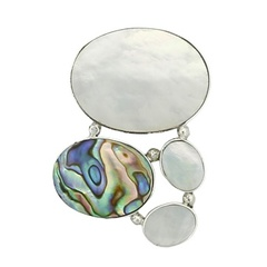 Oval multicolored abalone and white shells hidden bail polished sterling silver pendant