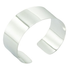 Elegant plain 925 sterling silver bangle bracelet 2 inches wide