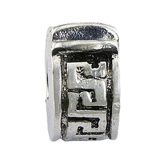 Antiqued embossed geometric lines pattern polished sterling silver clip bead