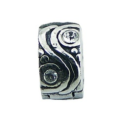 Ornate antique Swarovski crystals wavy sterling silver clip bead