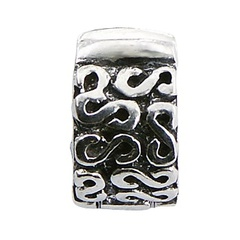 Antiqued casted ornate sterling silver clip bead