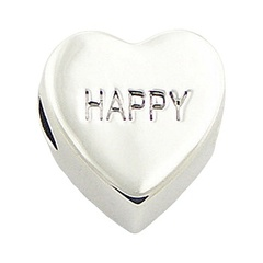 "Heart shaped with sweet ""Happy"" engraved writing casted shiny sterling silver bead"