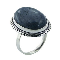 Handmade oval blue coral ornate sterling silver flange ring