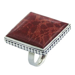 Handmade square red sponge coral ornate hand soldered polished sterling silver ring