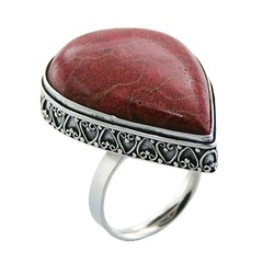 Red sponge coral trimmed with sweetheart ornate soldered polished sterling silver ring