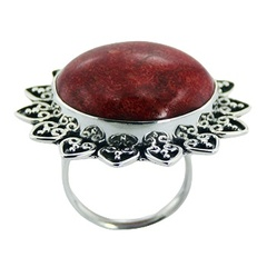 Round antiqued red sponge coral hearts ornament hand soldered silver ring