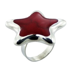 Red sponge coral inlay convexed star shaped sterling silver ring