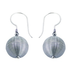 Unique balinese handcrafted round wire sterling silver earrings