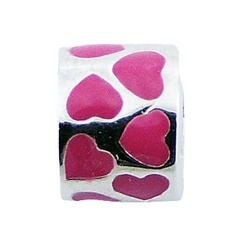 Cutely lovely enamel hearts on sterling silver tube shaped cylinder bead