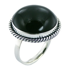 Convexed black agate gemstone wrapped in 925 sterling silver twisted rope ring