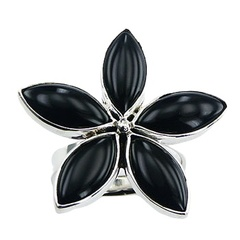 Black agate marquise cut floral design flower petals shaped polished steling silver ring