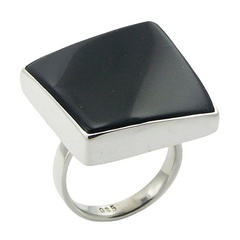 Innovative diagonally convexed black agate gemstone sterling silver designer ring