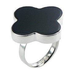 Feminine softly rounded black agate flower shaped polished sterling silver ring